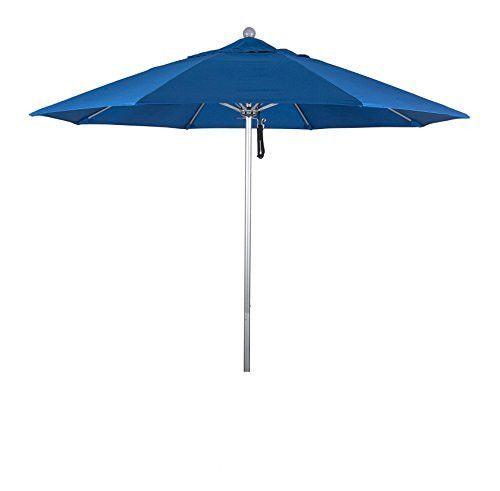 Eclipse Collection 9' Fiberglass Market Umbrella Pulley Open Silver Anodized/Sunbrella/Pacific Blue