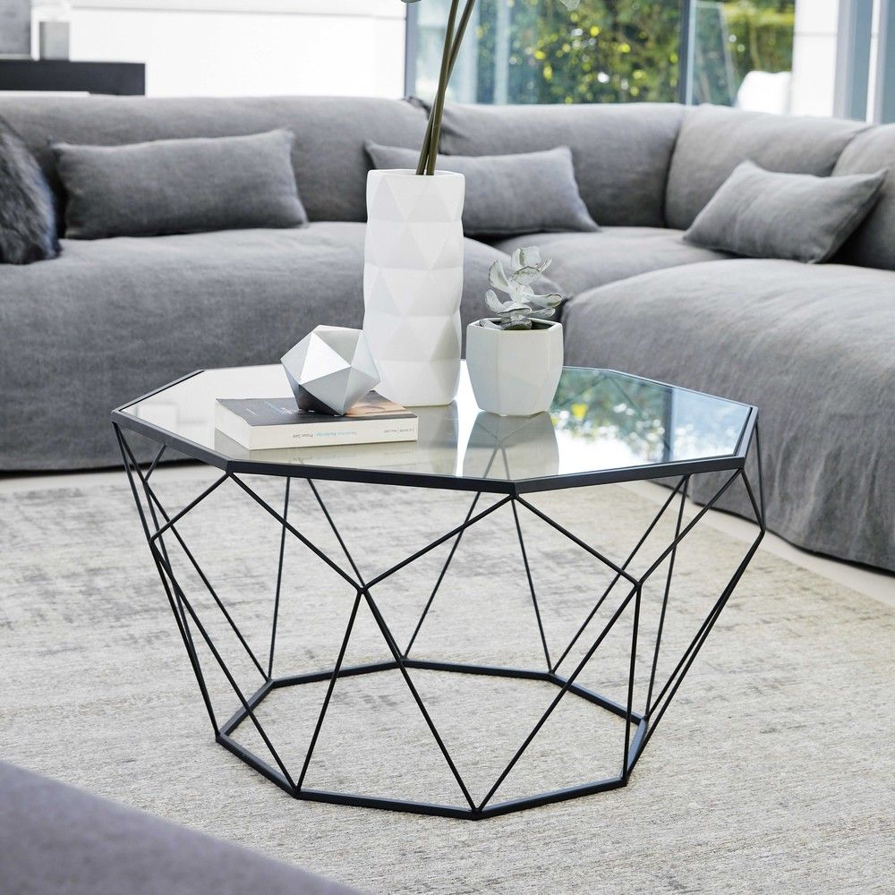 Black Metal And Tempered Glass Coffee Table Couchtisch Metall Couchtisch Glas Metall Couchtisch