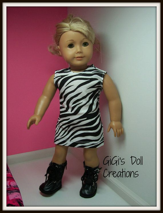 38c2a9496 Zebra print dress and boots for American by GiGisDollCreations American  Girl Clothes