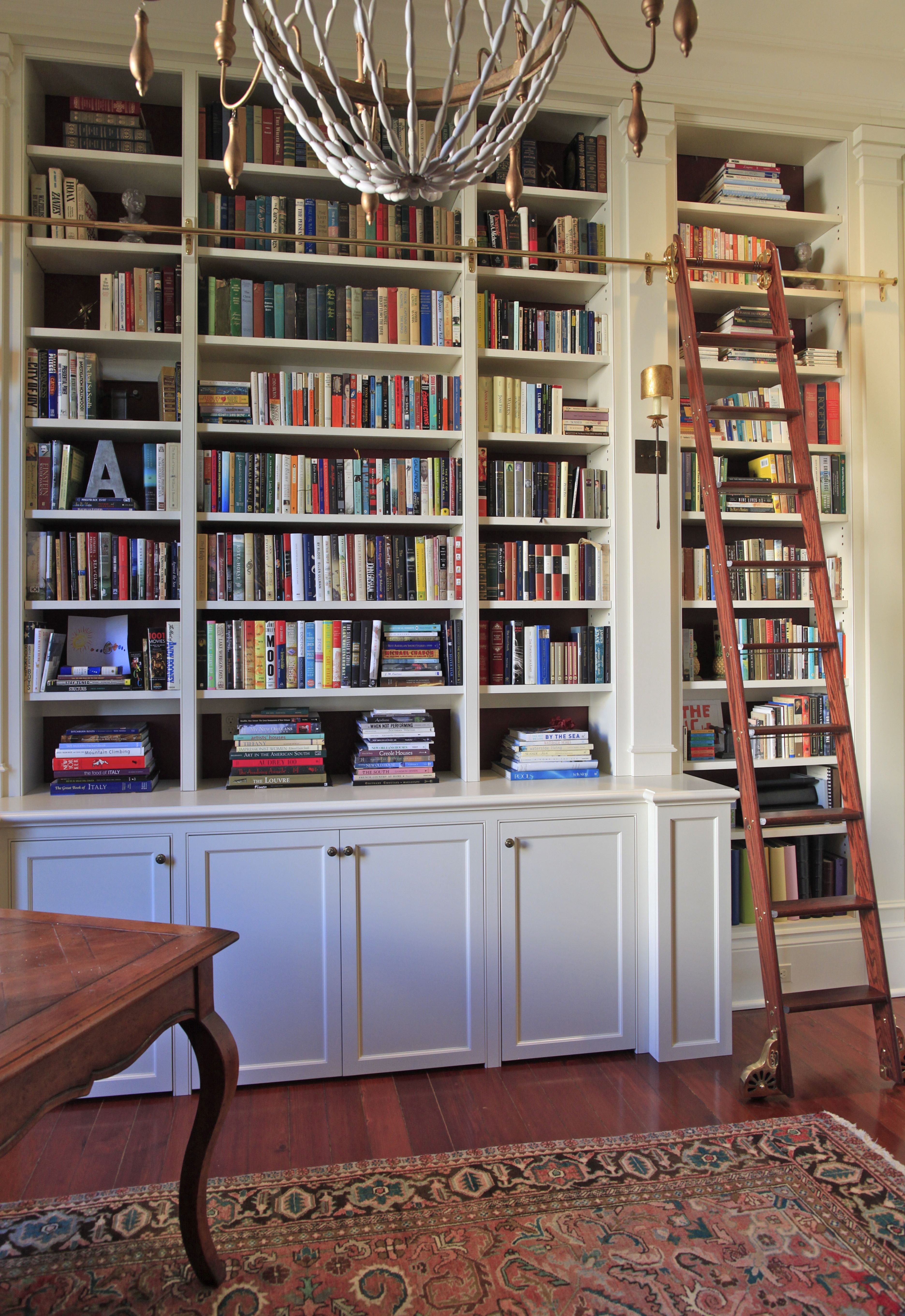 Beautiful Custom Built In Bookcase For Home Library Column Accents With Tall Base Moulding And Sliding Ladder Built In Furniture Home Built In Bookcase