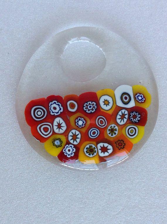 Murrini Pendant - Flower Fused - Fused glass Jewelry - handmade pendant - Gift - Art glass