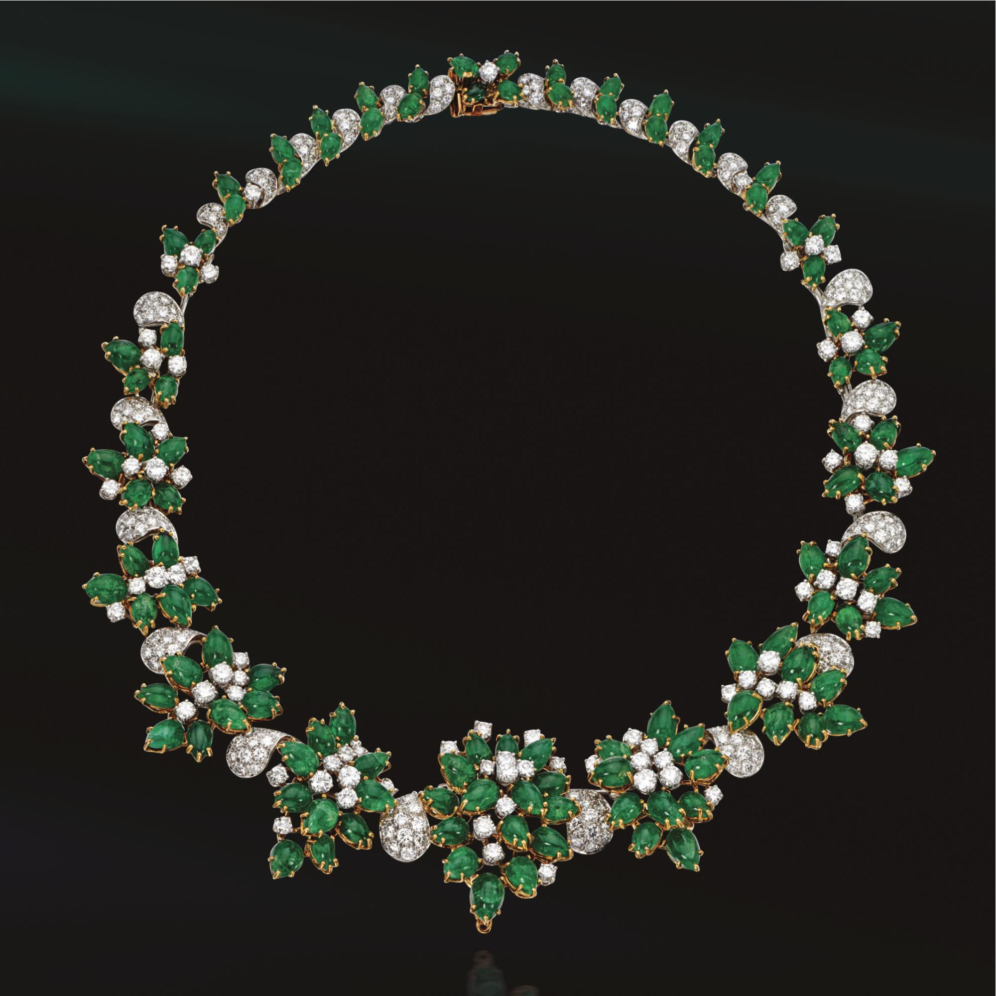 Cabochon emerald and diamond necklace, Harry Winston | lot | Sotheby's
