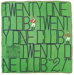 """The """"21"""" Club.  Love this vintage scarf!"""