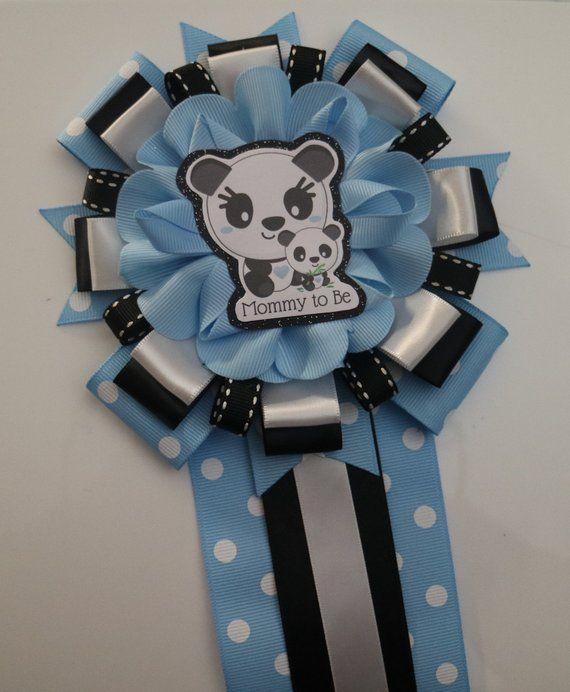 Blue baby Panda Its a boy, panda bear baby shower, mommy to be corsage pin #babypandas