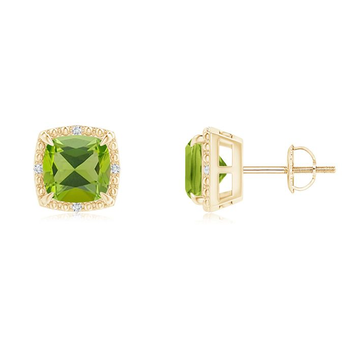 Angara Diamond Halo and Oval Peridot Stud Earrings in Platinum SFs3B2aeB