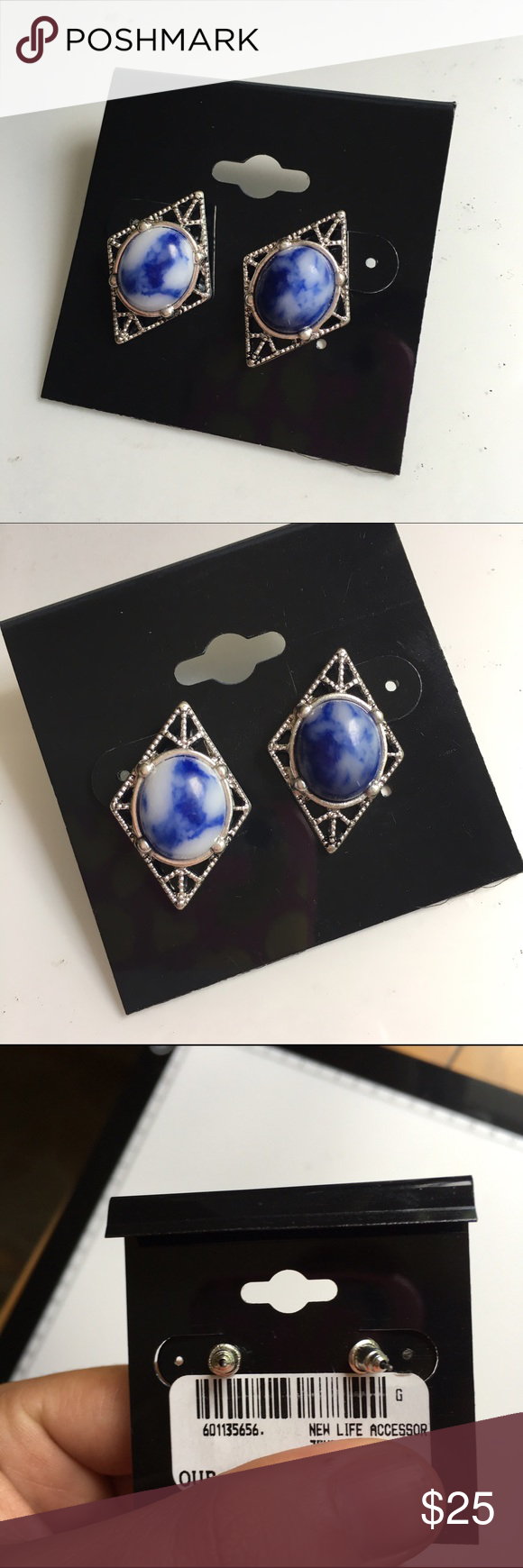 Marble & Silver Earrings NWT. Super cute! Blue marble stone with silver hardware. Almost 1 in. length. Jewelry Earrings