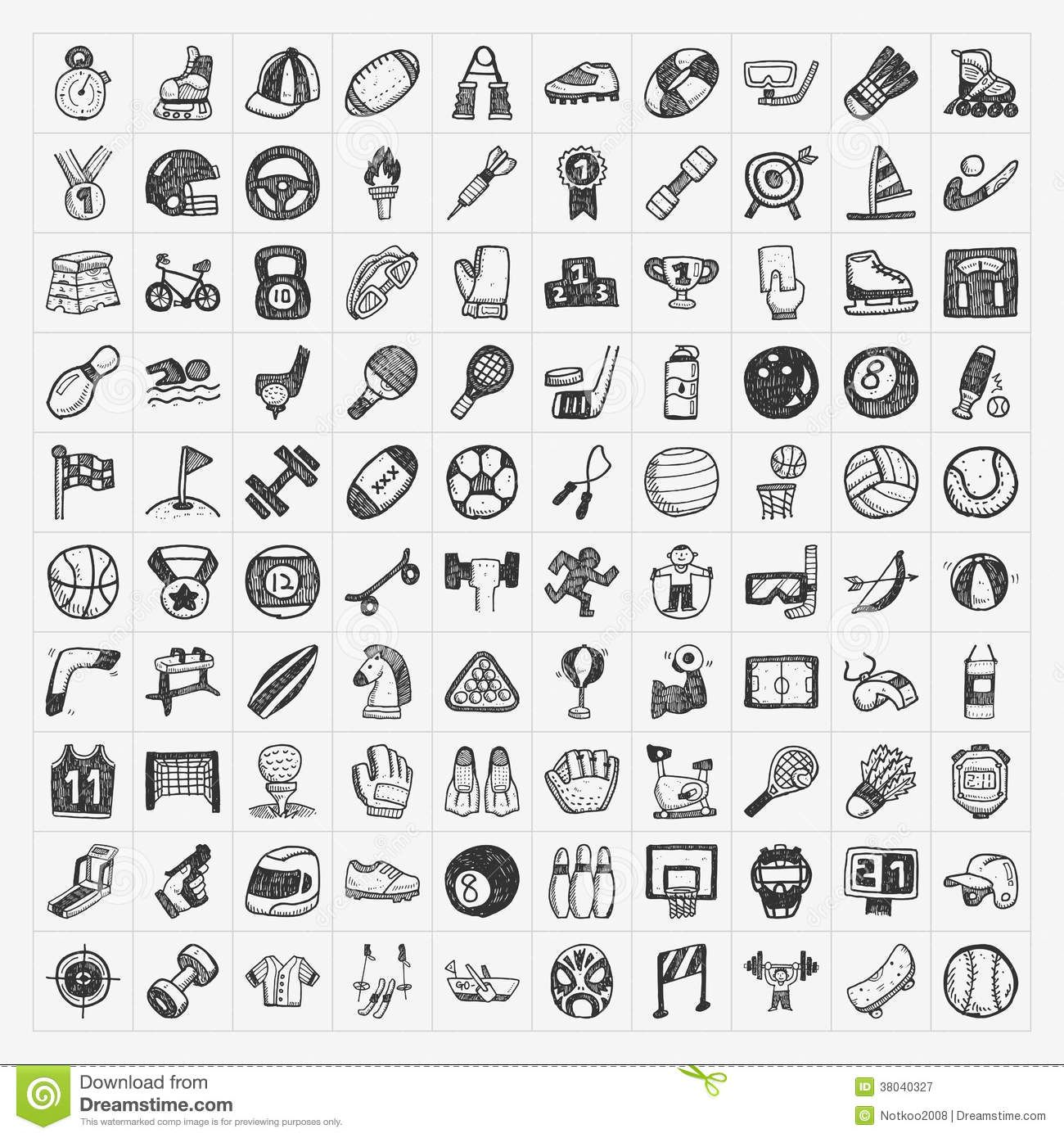 Doodle sport icons Hand drawn icons, How to draw hands