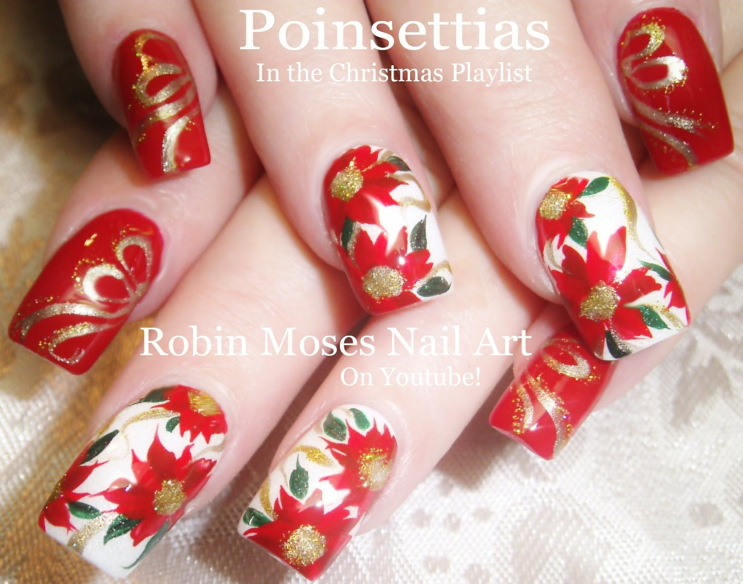 Nail Art Tutorial | DIY Red Christmas Flower Nail Design | Nail Art ...