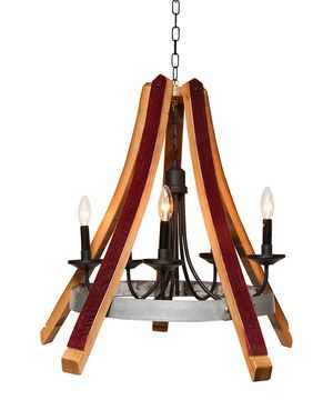 Add elegant lighting to any space with this distinguished chandelier. Constructed from reclaimed wine barrel staves and metal hoops, its warm finish and vintage-inspired design are sure to enhance the look of any living space.