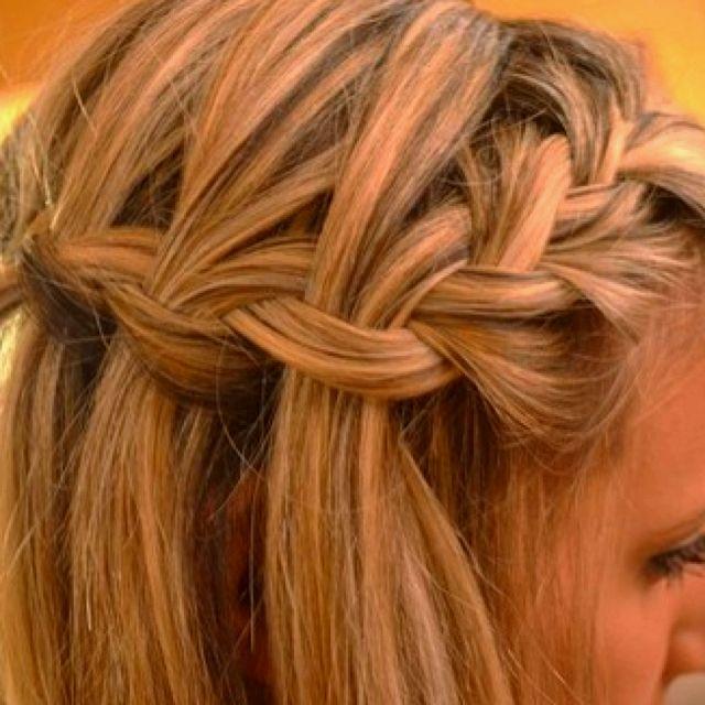 French braid into waterfall braid