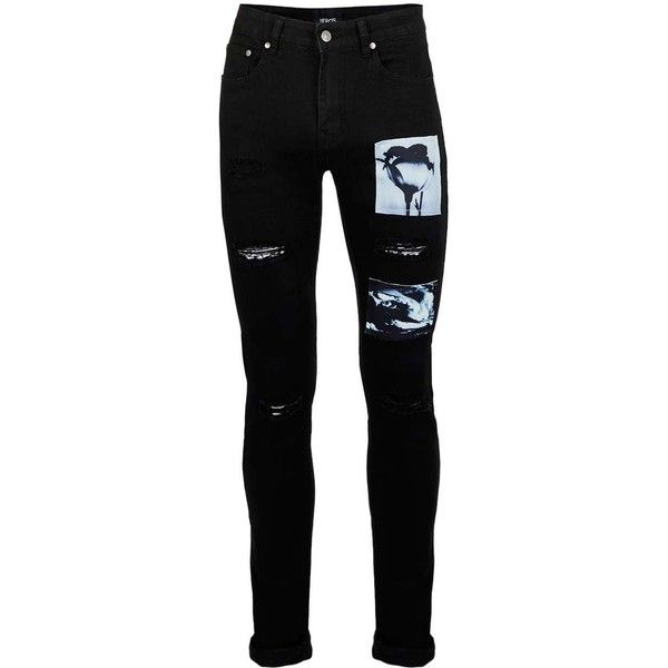 8ab65e3fd5 TOPMAN HERO'S Heroine Black Graphic Patch Skinny Fit Jeans ($58) ❤ liked on Polyvore  featuring men's fashion, men's clothing, men's jeans, bottoms, pants, ...