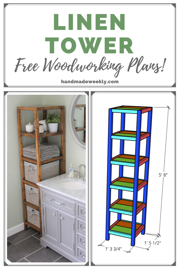 DIY Linen Tower - Free Build Plans #diyfurniture