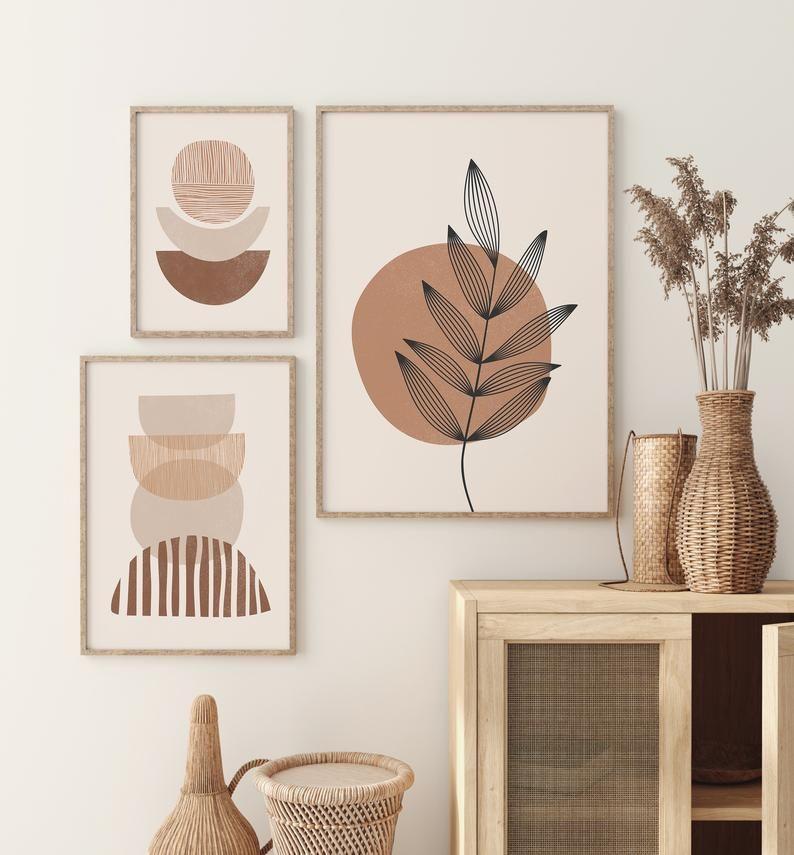 Boho Art Set of 3 Prints, Boho Wall Art, Abstract