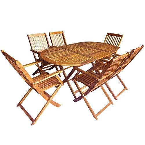 Festnight 7 pcs Salon de Jardin 1 Table et 6 Chaise Pliable ...