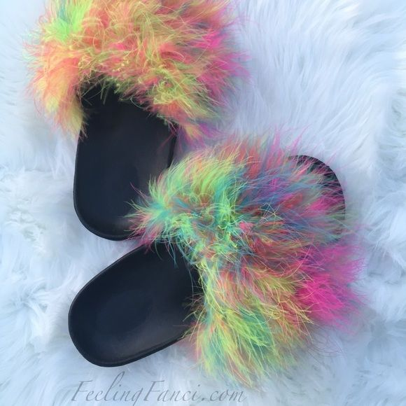 Multi Color Fur Slides Fur Slides Shoes Sandals And Fur
