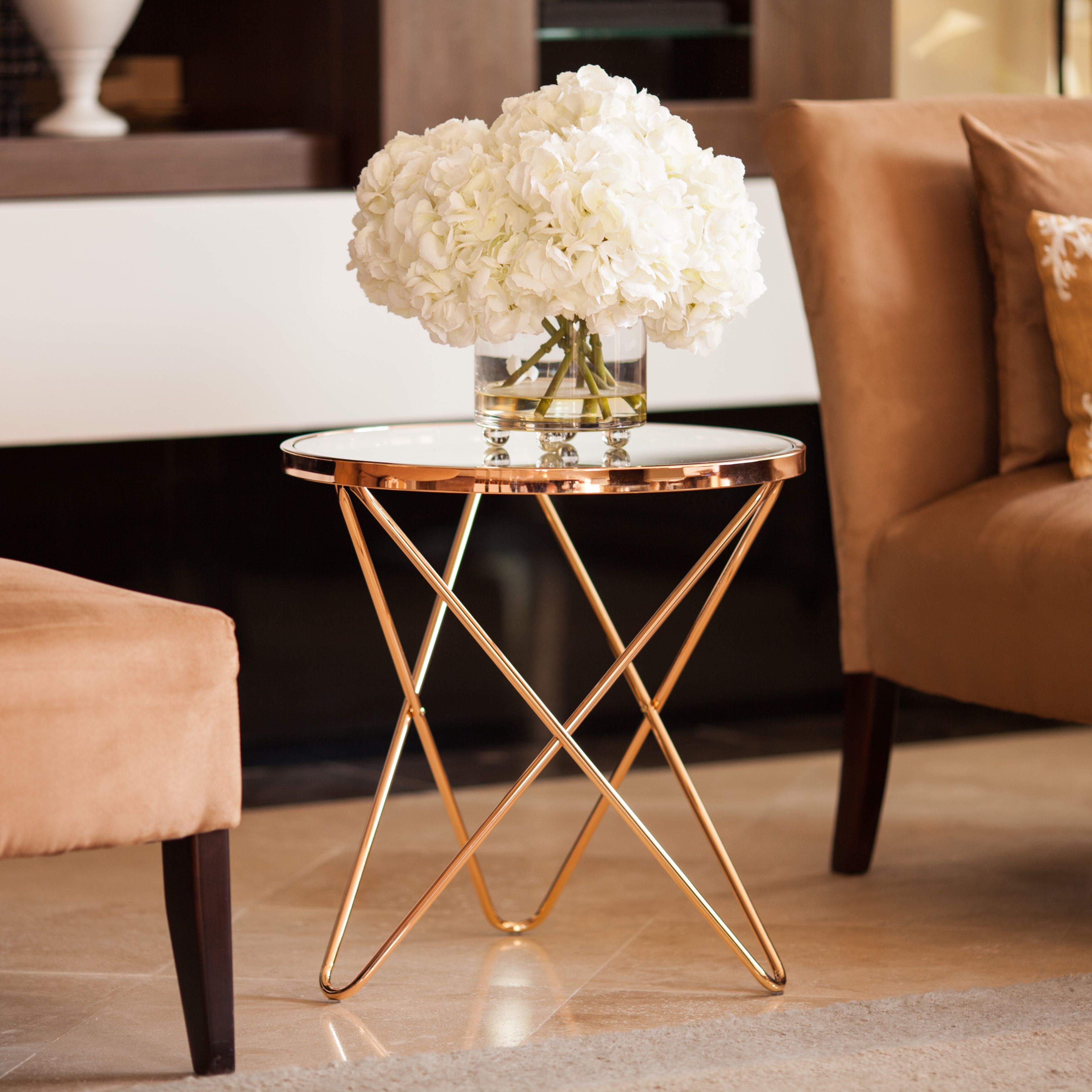 Danya B Tetra Clear Glasstop Round End Table with Rose Gold Metal