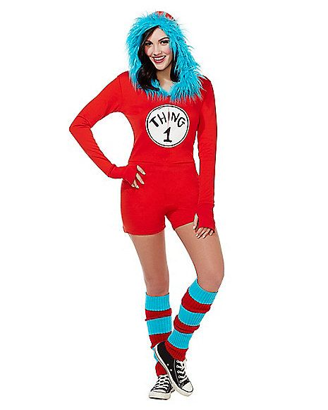 Adult Thing 1 and Thing 2 Romper Costume - Dr. Seuss - Spirithalloween.com 6fa222e28c