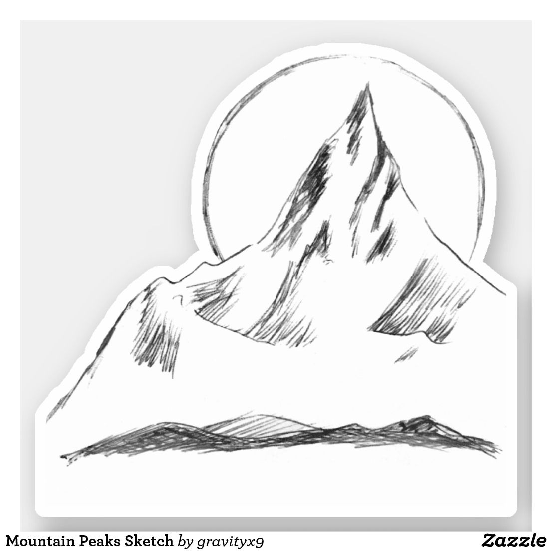 * Mountain Peaks Sketch Sticker  by at * Cutout stickers are available in several size options.* Choose size and use for DIY projects, projects and scrap booking ideas, too! * contour stickers * stickers laptop ideas * cut out stickers * stickers for school * stickers for crafting * stickers for kids *