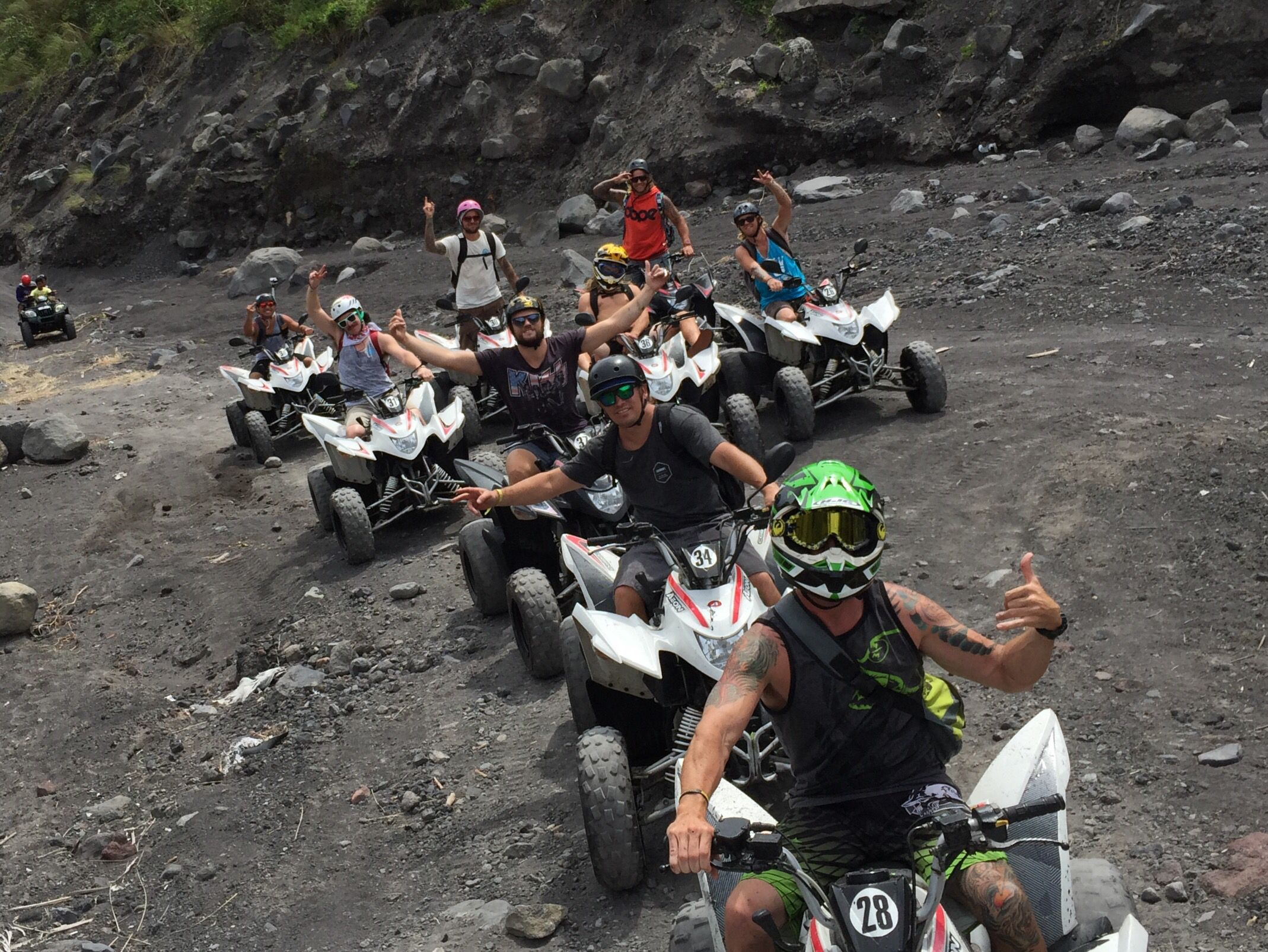 Group of guests riding thru the lava fields
