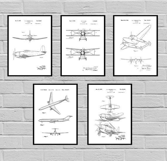 Airplane Patent SET of 5, Aircraft Poster, Airplane Art, Aviation - copy plane blueprint wall art