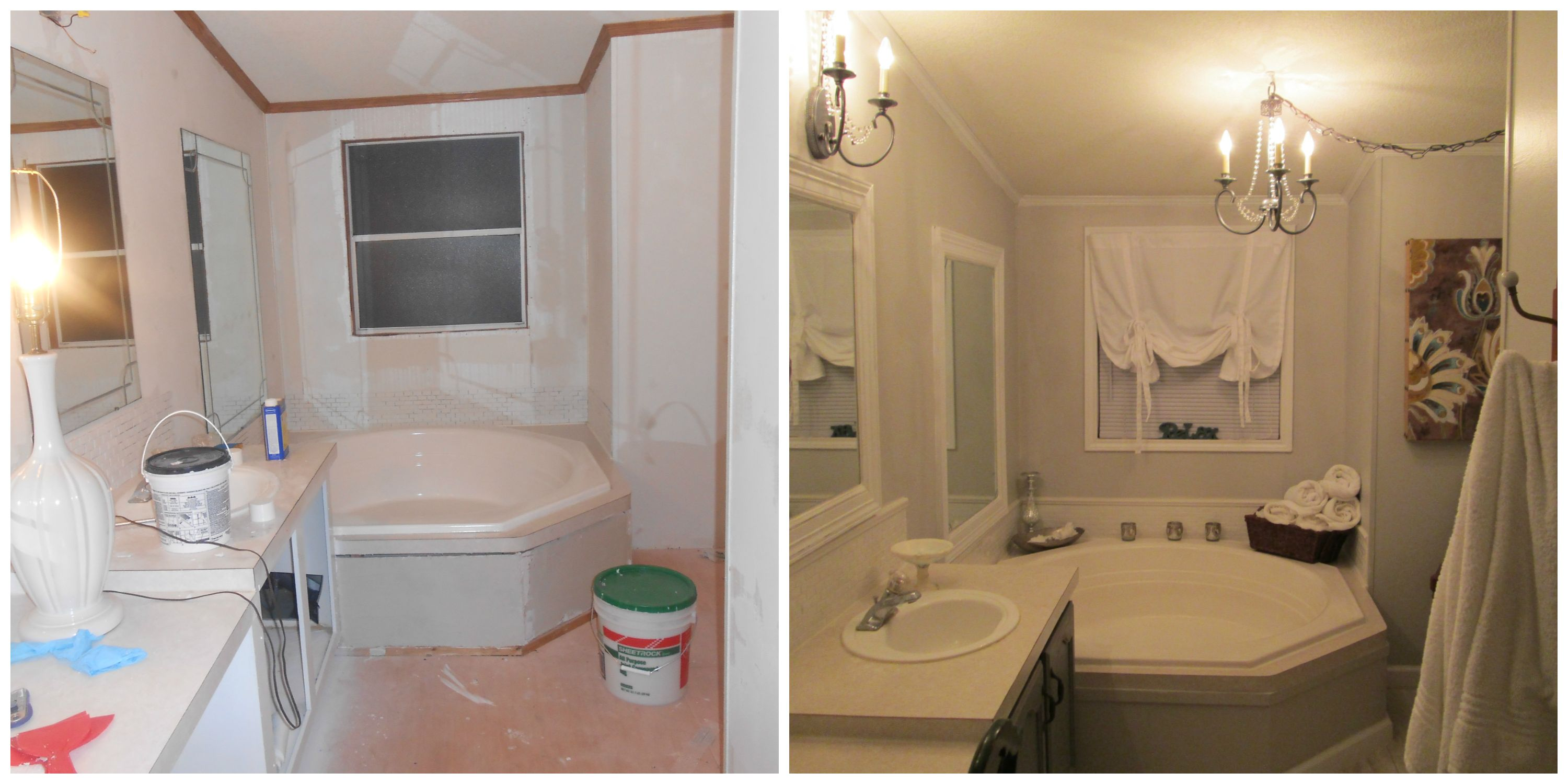 mobile home master bath makeover, by Melo at