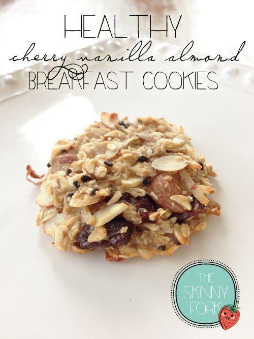 Healthy Cherry Vanilla Almond Breakfast Cookies — No flour, no added sugar, no oil and no eggs! Super easy and delicious!