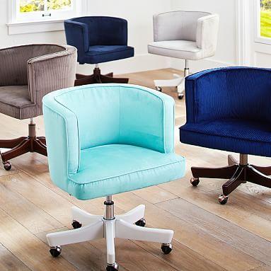 scoop swivel desk chair pbteen faux suede gray or navy