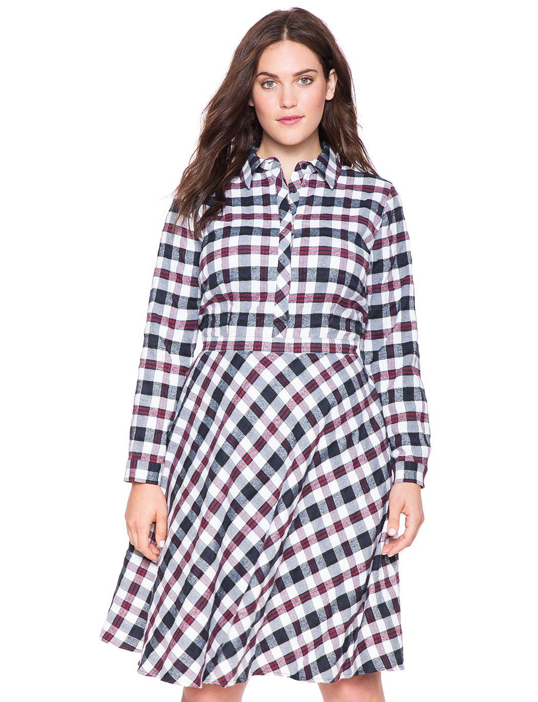 Plaid dress plus size