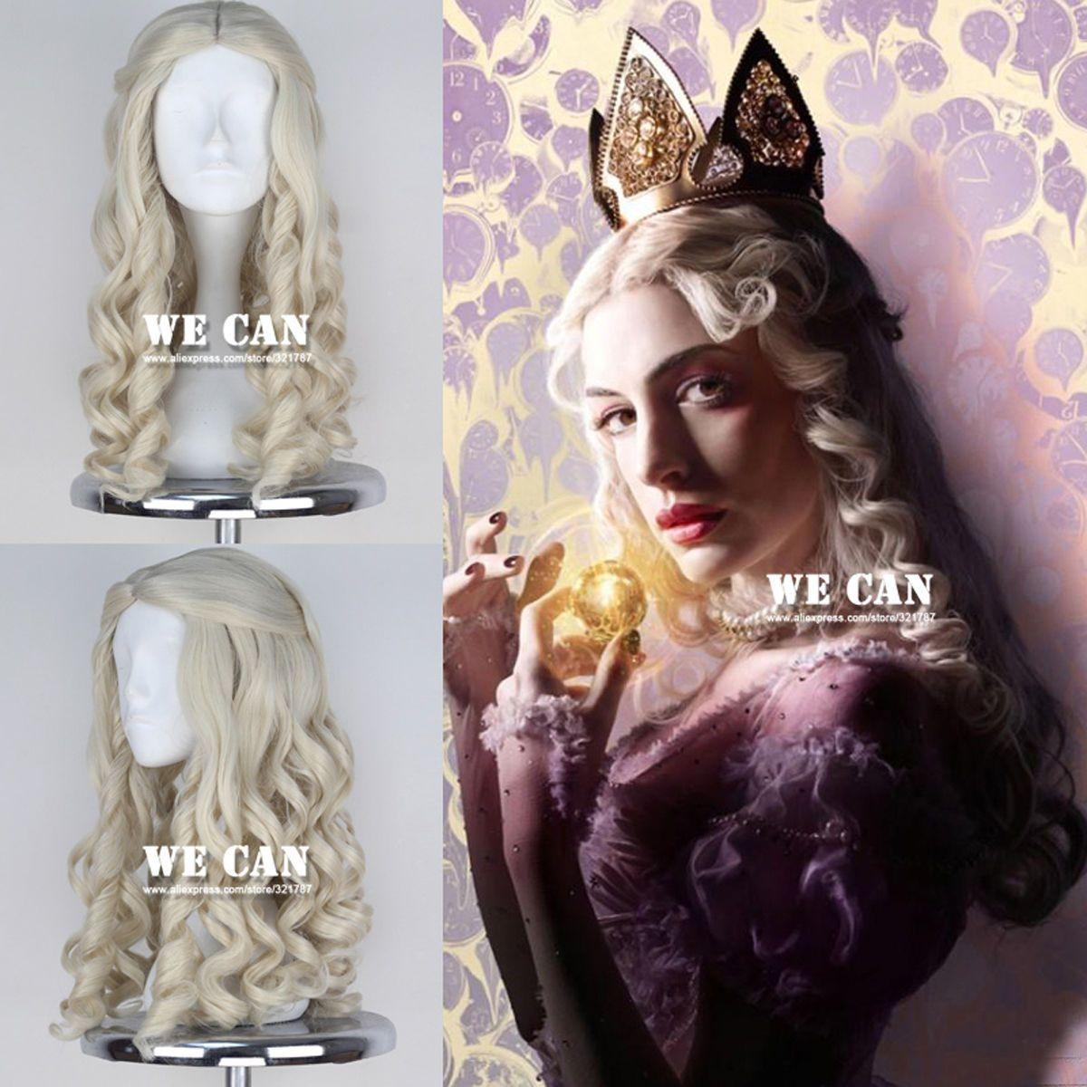 Alice In Wonderland White Queen Wig Women Long Blonde Curly