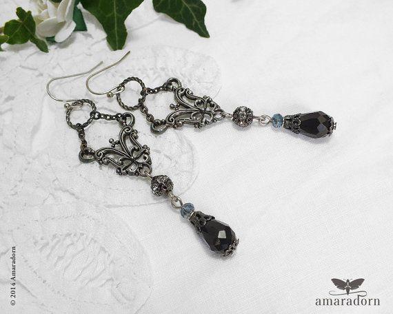 Neo Victorian Black Drop Earrings Dark Silver Filigree Gunmetal Long Gothic