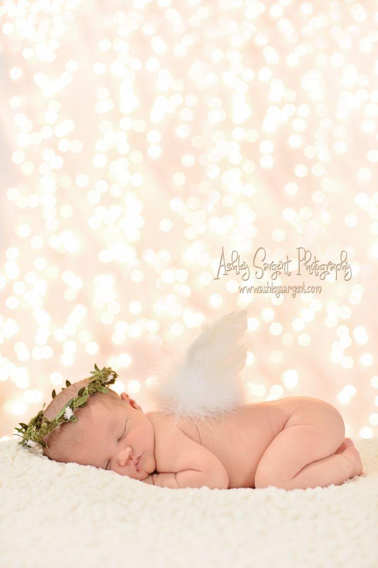 Ashley Sargent Photography- newborn angel, newborn photography, Christmas lights