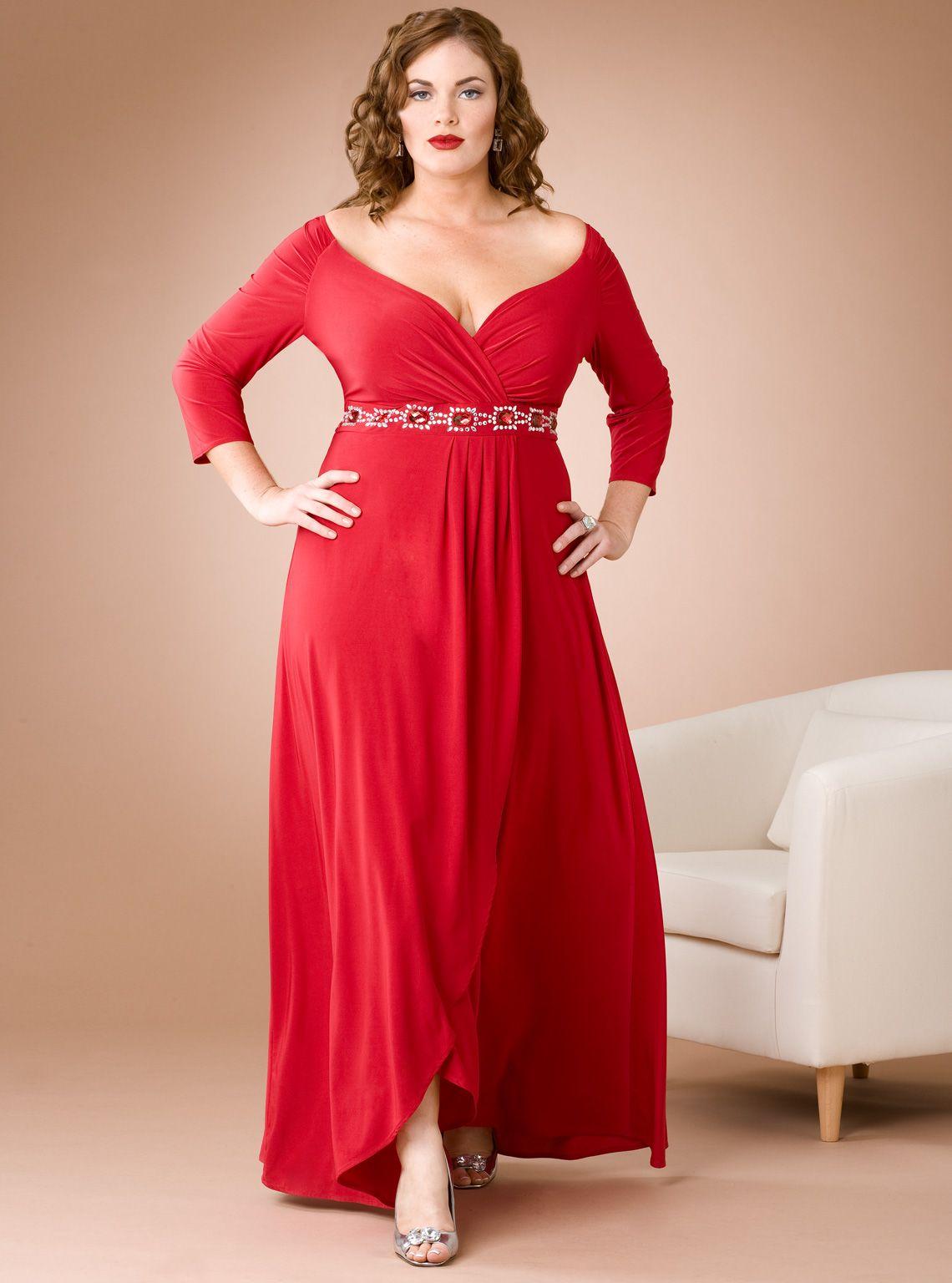 Elegant plus size dresses in color red