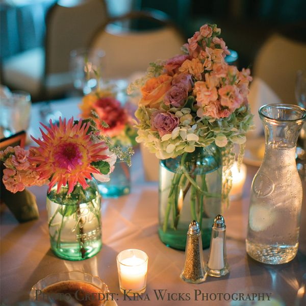 Masonjarscenterpiecesforwedding mason jar wedding for Mason jar wedding centerpiece ideas