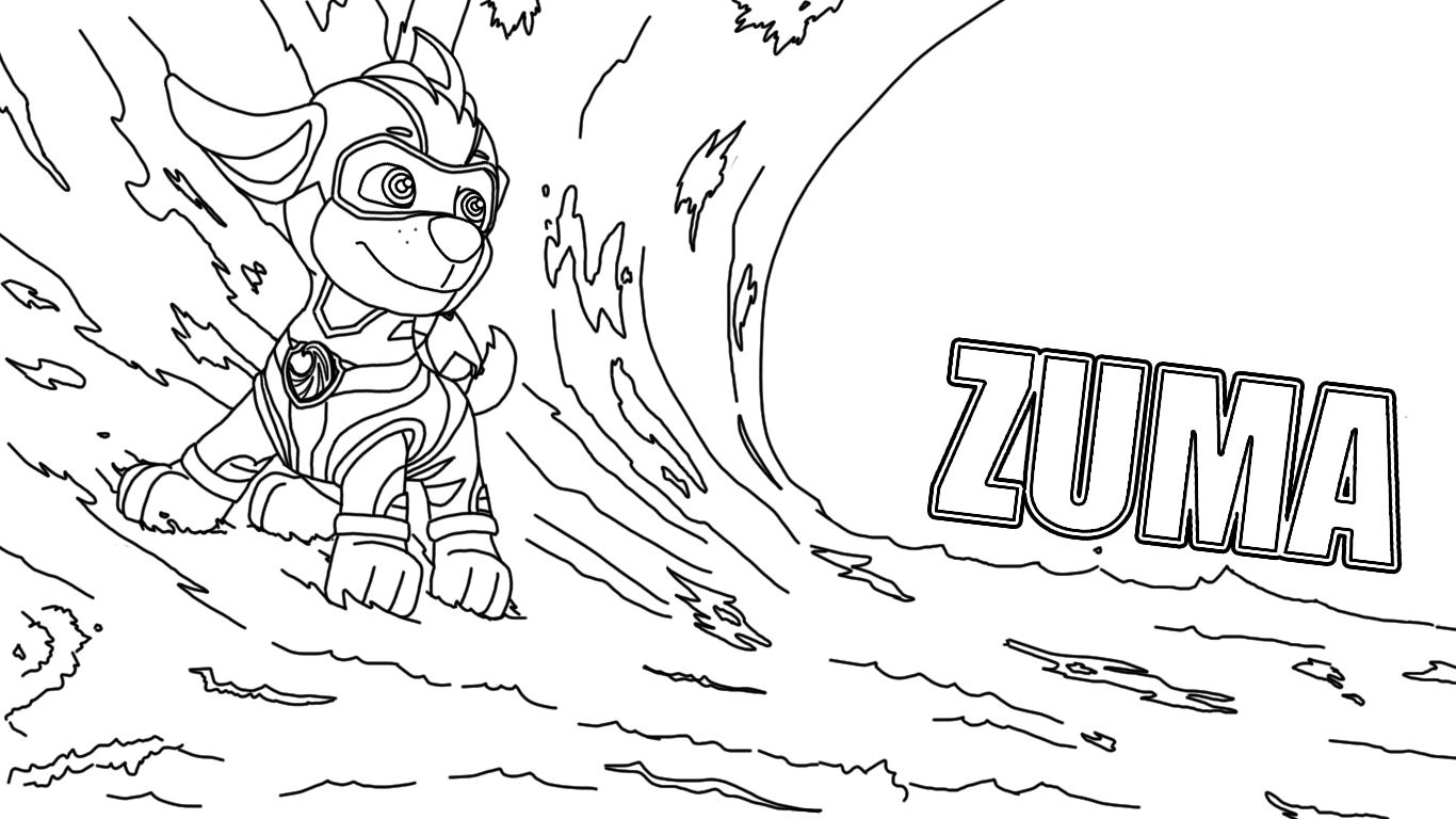 Paw Patrol Mighty Zuma Coloring Paw Patrol Paw Coloring Pages