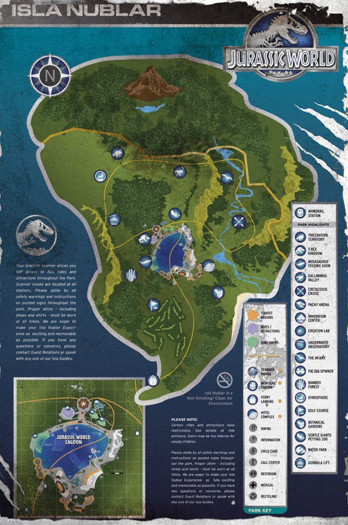 Jurassic World Aged Map   Official Poster. Official Merchandise