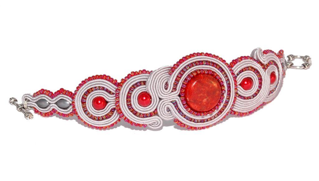 Kup Bransoletka Sutasz Soutache Srebrno Czerwona Na Aukcje Wosp Cuff Bracelets Soutache Bracelets