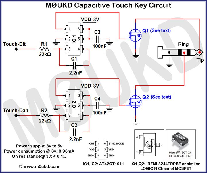 gm3vlb mini delta les paul jr p90 wiring diagram capacitive cw touch key circuits m0ukd amateur radio station information page