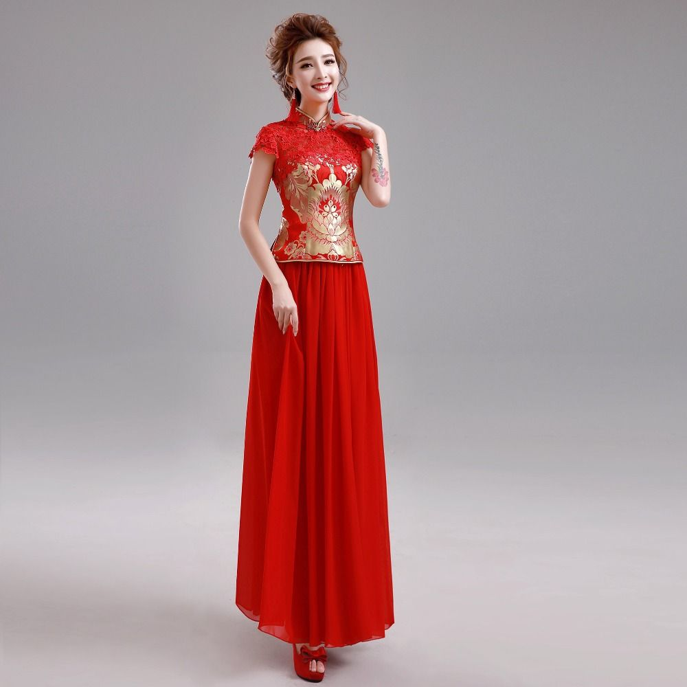 Red-Traditional-Cheongsam-Qipao-Embroidery-Chinese-Traditional-Dress ...