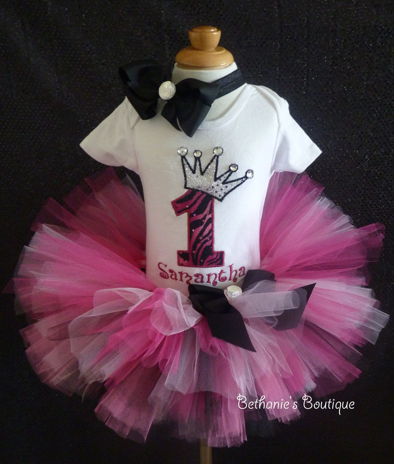 Tutu set Pink Zebra Princess Crown Number for by TooTuTuCute, $44.95