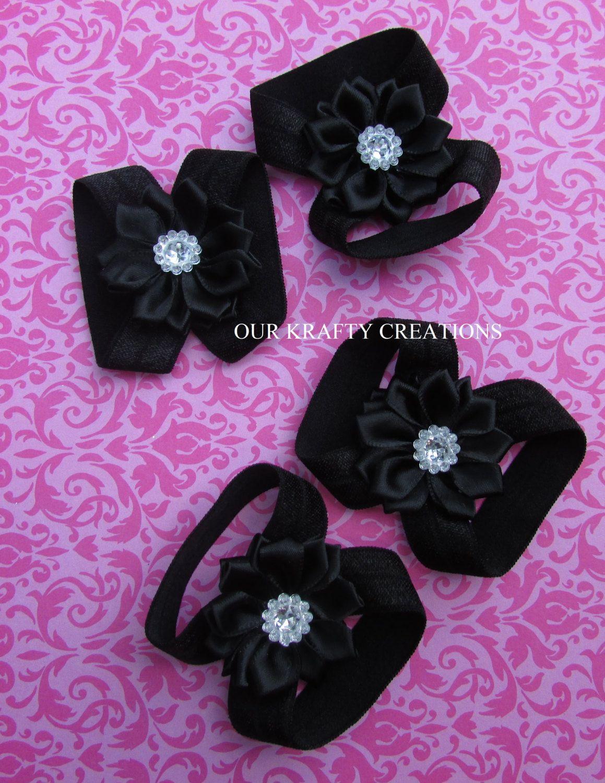 Black newborn sandals - Black Satin Sandal Baby Girl Sandals Twin Girl Sandals Newborn Girl Sandals
