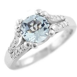 Round Sky Blue Aquamarine & Diamond Engagement by DiamondCANDYcom, $835.00