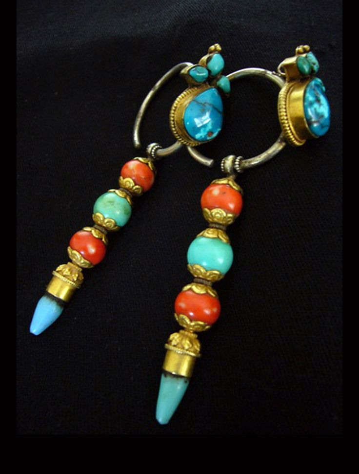 Tibet | Old earrings; silver, coral, turquoise and gold plating | POR