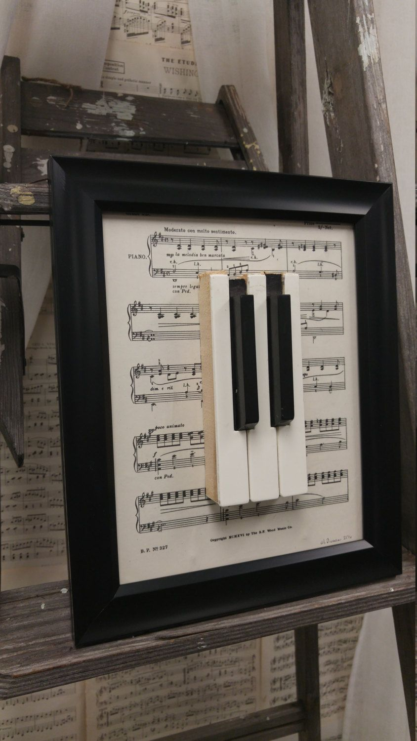 Empty room with chair violin and sheet music on floor photograph - Piano Keys Framed Art Decor With 8 X 10 Black Frame And Vintage Sheet Music Upcycled Piano Keys Piano Art Piano Decor