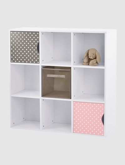 Meuble de rangement 9 cases blanc taupe vertbaudet for Meuble 9 cases leclerc