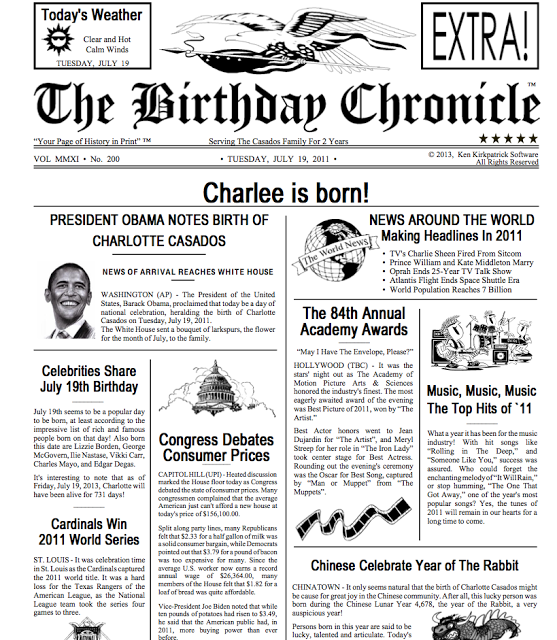 graphic relating to Free Printable Birthday Newspaper known as Printable Birthday Newspaper Littles 80th birthday items