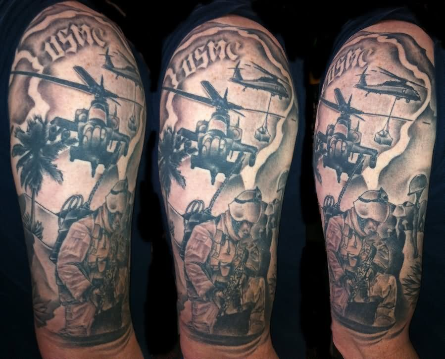 Military Helicopter With Soldiers Tattoo On Half Sleeve ...