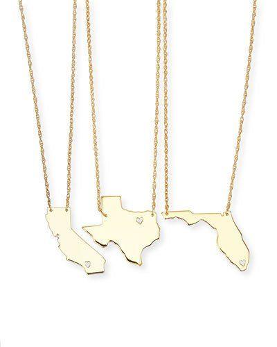 Moon & Lola Personalized State Pendant Necklace, Gold, Alabama-Mississippi