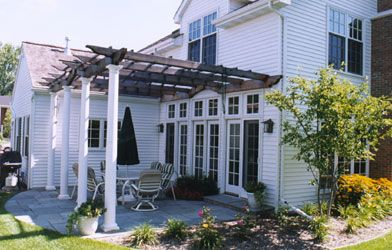 Pergola attached to colonial style home | Pergola/Covered Parking ...
