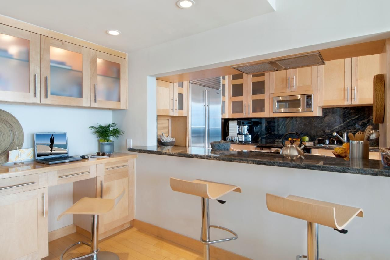 Maple cabinets and natural granite pair with stainless ... on Modern Kitchen Backsplash With Maple Cabinets  id=12847