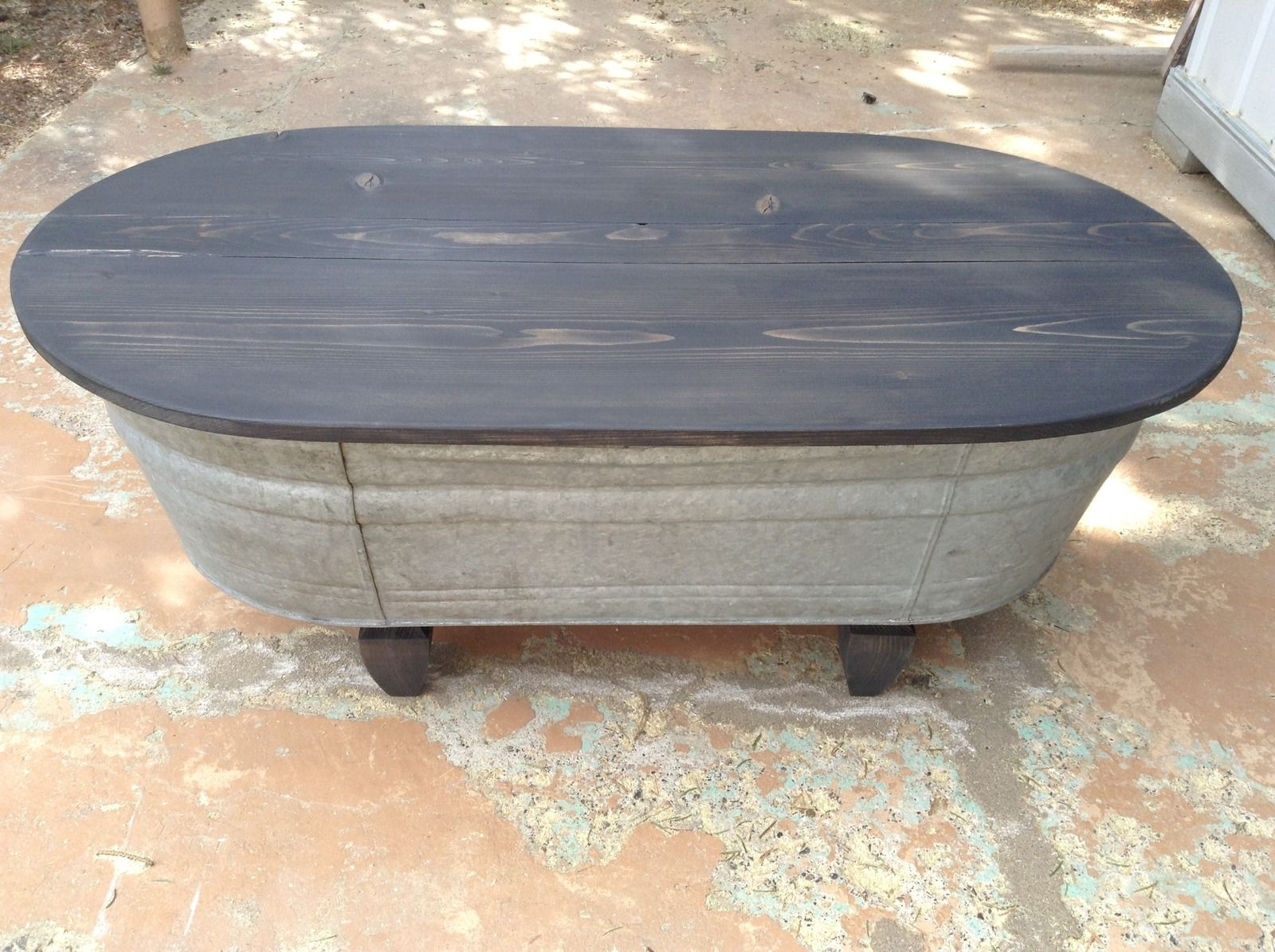 Repurposed Antique Oval Wash Tub Bench Coffee Table Can Deliver On 5 8 17 Only Dickinson Nd Outdoor Toy Storage Diy Coffee Table Diy Coffee Table